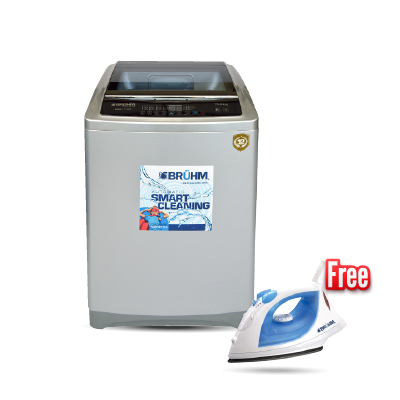 BRUHM 12.0kg WASHING MACHINE BWT-120SG + FREE BRUHM STEAM IRON BIS-2200NU