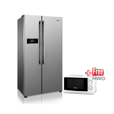 BRUHM 429L SIDE BY SIDE REFRIGERATOR -BFX- 429EN - SBS FROST FREE + BRUHM MICROWAVE OVEN BMM-20MG - SOLO FREE