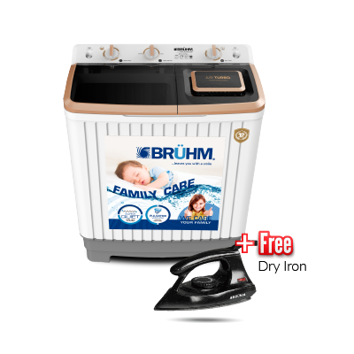 BRUHM 7.0KG Semi Automatic Washing Machine - BWT-070H + FREE BRUHM DRY IRON BID-1000NW FREE