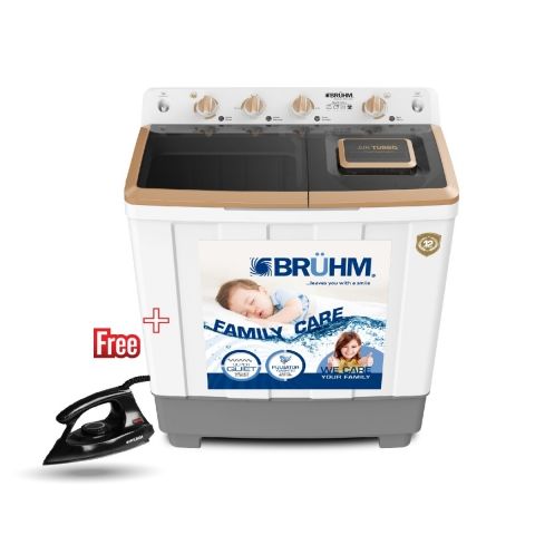 BRUHM 11KG Semi Automatic Washing Machine - BWT-110H + BRUHM DRY IRON BID-1000NW FREE